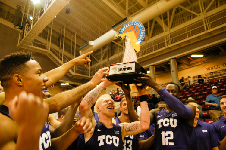 Sophomore guard Jaylen Fisher (center) scored a career-high 20 points to lead TCU to the Emerald Coast Classic title.